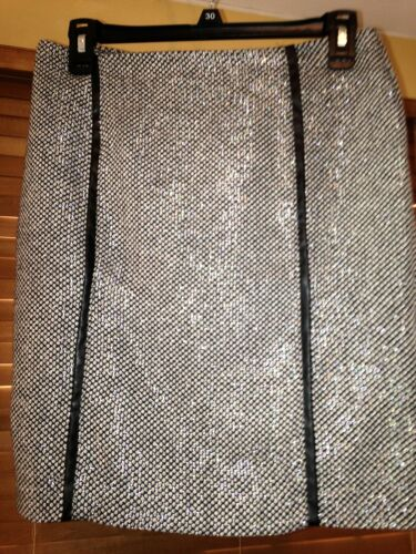 Cynthia Rowley Women's Skirt Black & White tweed M