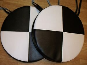 2 Round Dining Garden Chair Cushions Seat Pads Black White Faux Leather