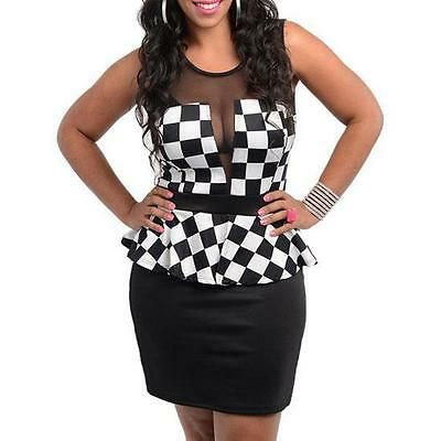 111 - 13 - 1X 2X 3X Plus Size Mesh Checkered Peplum Cocktail Dress Black White