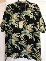 Tommy Bahama L Hawaiian Dark Blue / Multi 100 % Silk Shirt Mens