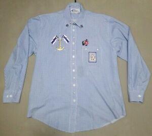 Las-Olas-Blue-Long-Sleeve-Button-Up-Sailing-decal-Women-039-s-Shirt-Size-Medium