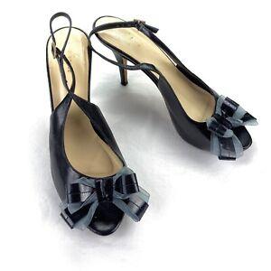 Kate-Spade-Women-039-s-Leather-Bow-Slingback-Heel-Black-Italy-Size-10-B