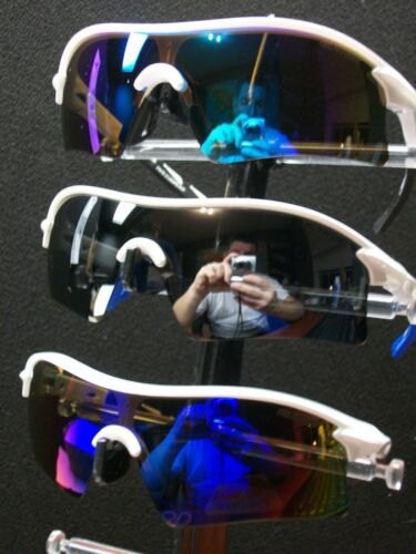 FINZ POLARIZED SUNGLASSES GLOSSY WHITE BLUE//SMOKE//PLASMA LENS.....NASTY 3x