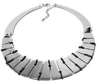 Stately Steel Leather-like Corded Collar 16  Stainless Steel Power Necklace