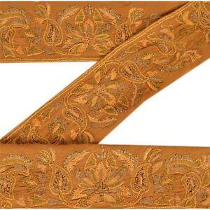 Sanskriti Vintage Sari Border Antique Hand Embroidered 1 YD Trim Sewing Green