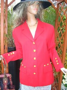 Rot Couture Luxus 42 38 Escada Np1180 jacket Statement Blazer 40 Gold Klassiker 5FFWwfznqI