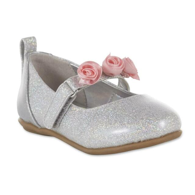 6df8139e69ba Disney Princess Silver Pink Flower Toddler Girls  Mary Jane Shoes Size 7