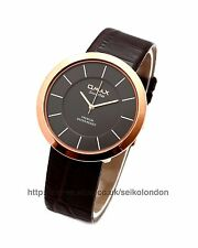 Omax Unisex Black Dial Watch, Rose Gold Finish, Seiko (Japan) Movt. RRP £49.99