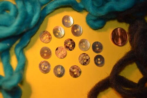 Bildschöne Natur Perlmutt Knopf Knöpfe 1,1cm 11mm 10 Stück NEU