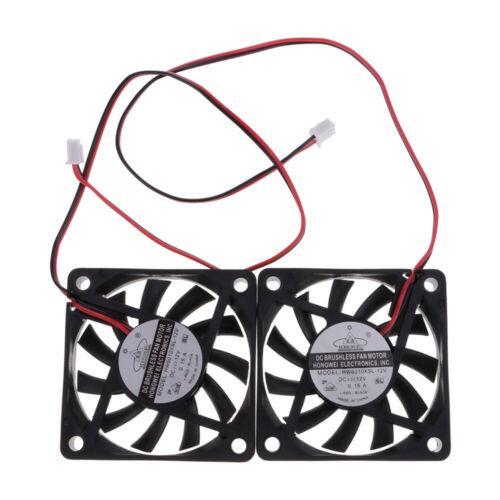 2 pcs 60mm PC CPU Cooling cooler Fan DC 12V Sleeve Computer Case Quiet Connector