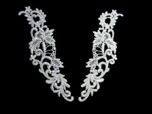 """Unotrim 10/""""x 3/"""" Ivory White Venice Lace Collar Motif Applique by Piece"""