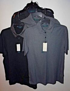 Perry-Ellis-Polo-Shirt-Short-Sleeve-Mens-NWT-S-L-Black-Gray