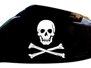 Skull-and-Crossbones-Car-Stickers-Wing-Mirror-Styling-Decals-Set-of-2-White