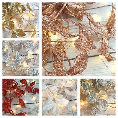 180cm Glitter Leaf Christmas Garland Champagne Rose Gold Silver White Red Blue Ebay