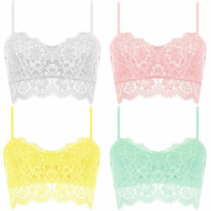 New-Eyelash-Lace-Strappy-V-Neck-Zip-Floral-Party-Bralet-Bra-Crop-Top-UK-8-10-12