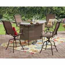 5-Piece Outdoor Patio U-Shape Bar Table Counter Height Swivel Chairs Set, Brown