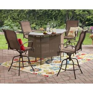 5 Piece Outdoor Patio U Shape Bar Table Counter Height Swivel Chairs Set Brown