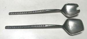 Set of 2 Vintage Pewter Serving Spoons Norway Erik Tinn Norge Norway MCM