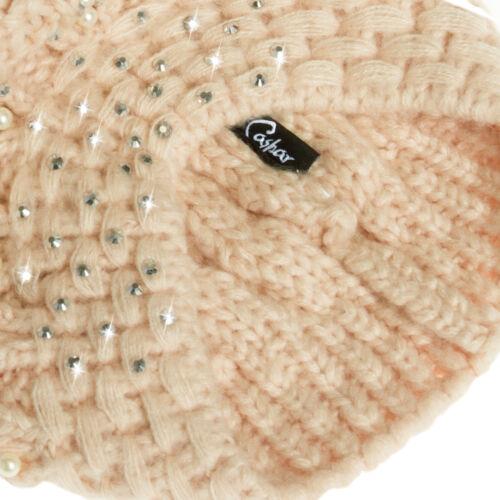 CASPAR Damen Winter Mütze Bommelmütze Beanie großer Bommel Perlen Strass