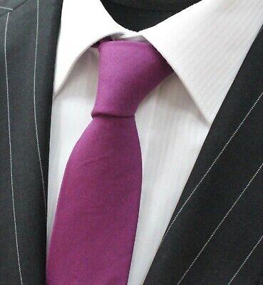 Avere Una Mente Inquisitrice Tie Cravatta Slim Tinta Unita Prugna Cotone Di Alta Qualità T6088-mostra Il Titolo Originale Per Cancellare Il Fastidio E Per Estinguere La Sete