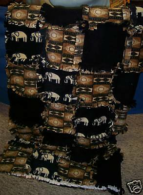 NEW Elephants Ragtime Quilt Afghan - 50  x 60