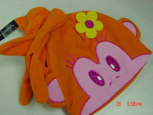 NWT Girls 2 piece Fleece Hat Gloves Orange Monkey Black Cat Pink Cool Trendy NEW