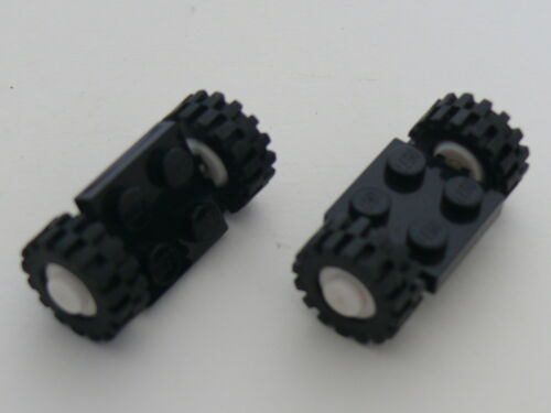 Lego white wheels with Black Tires Offset Tread Small