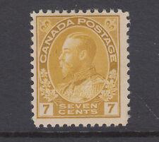 Canada Sc 113 MLH. 1912 7c yellow ochre KGV Admiral, wet printing