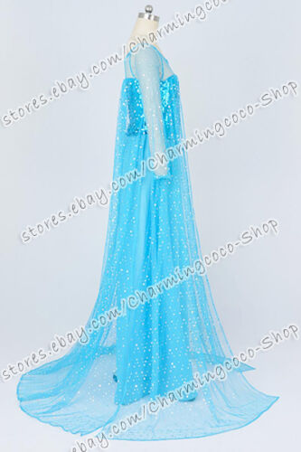 Details about  /Frozen Cosplay The Snow Queen Elsa Princess Costume Halloween Fancy Blue Dress