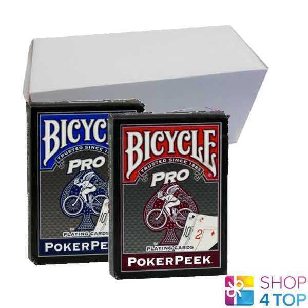 12 ponts BICYCLE PRO POKER Peek Index jeu cartes Tours de Magie Bleu Et Rouge Nouveau