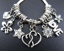 "Lots 100pc Tibetan Silver ""Heart Star Love ""Charms Beads Fit European Bracelet"