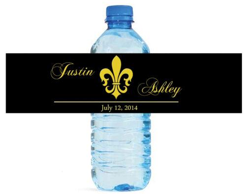 100 Black Fleur de Lis Wedding Anniversary Engagement Party Water Bottle Labels