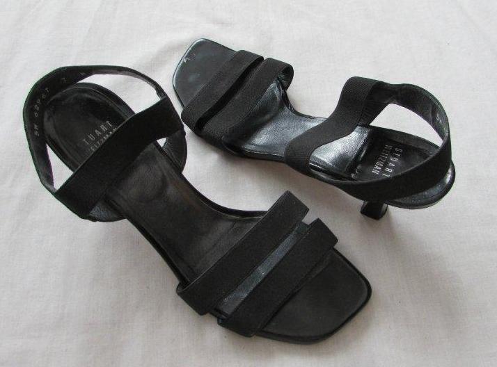 STUART WEITZMAN womens 7 black strappy kitten heel shoes dressy