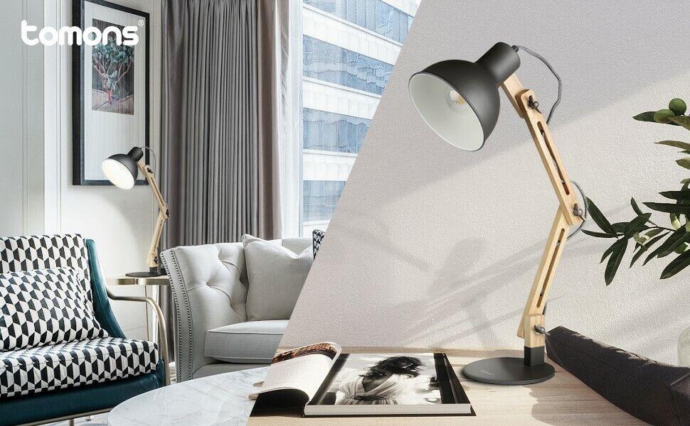 Leselampe Holz Schreibtischlampe tomons