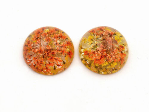 Cabochon aus Harz mit echter Blume in gelb-orange 18 mm 2er Set von Vintageparts