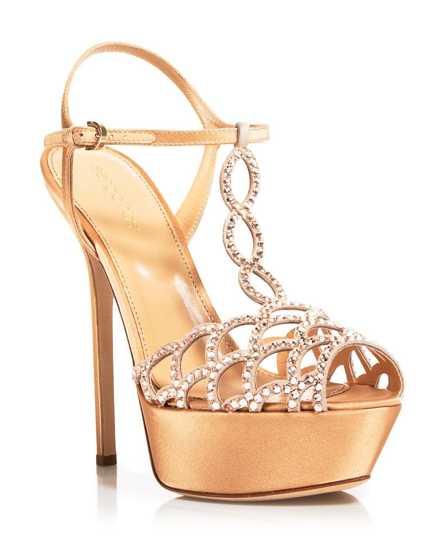 Sergio Rossi Swarovksi Crystal Vague High 9.5 Heel Platform Sandals Damens 9.5 High $995 1f740d