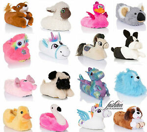 New Womens Girls Novelty 3D Character Plush Unicorn Animal Slippers ... efe231e44