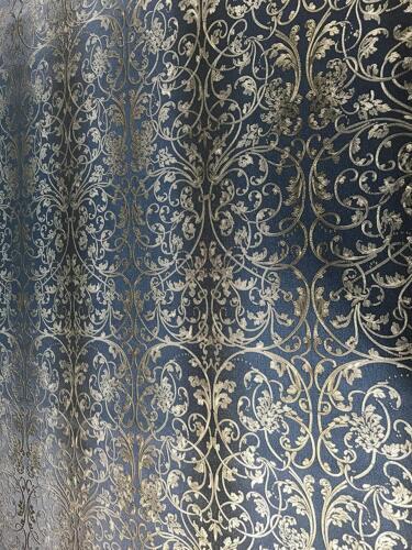 Wallpaper Damask blue black gold metallic textured rolls striped wall coverings