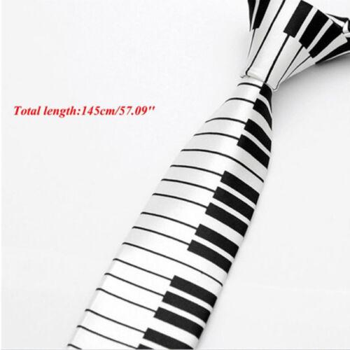 New Men/'s Black /& White Piano Keyboard Necktie Tie Slim Skinny Music Tie WA