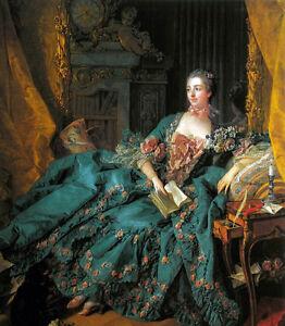 """Oil painting francois boucher Female Portrait of Madame de Pompadour & book 36"""""""