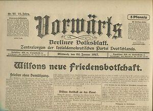 VORWARTS-24-Januar-1917-Wilsons-neue-Friedensbotschaft