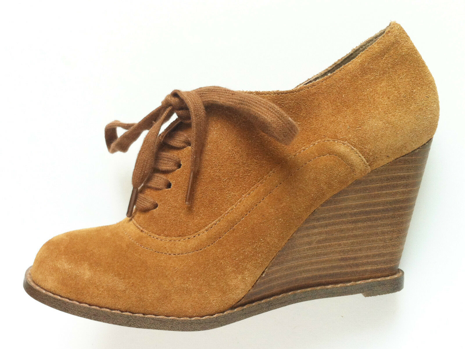 OFFICE High Heel Wedge Schuhes Ankle Stiefel Tan Braun Suede Lace Up Größe 3 EU 36