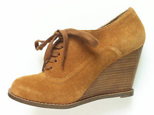 Heel Up Boots 36 Eu Ankle High Office Suede Brown Shoes Wedge Size 3 Tan Lace g45Xqvn