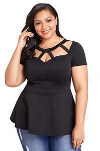 Details about Women's Plus Size Short Sleeve Cutout Black Peplum Blouse Dress Shirt Tee Top