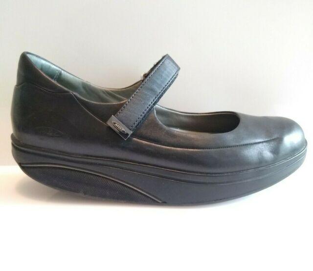 MBT Sirima Womens Mary Jane Black Leather Rocker Toning Walking Shoes Sz 7-7.5