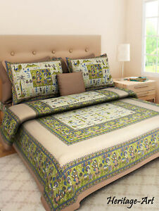 India Rajasthani Handmade King Size Pure Cotton Bed Sheet 2 Pillow Covers Set