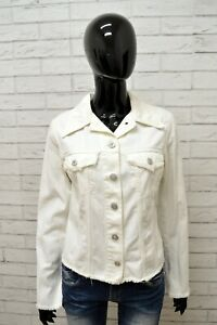 Giubbino-Jeans-LIU-JO-Donna-Taglia-S-Giubbotto-Giacca-Jacket-Woman-Cotone-Bianco