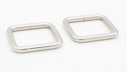 Anillo de metal cuadrado 25 mm hebillas de cincha de cinturón de flejado para Bricolaje Equipaje Cromo