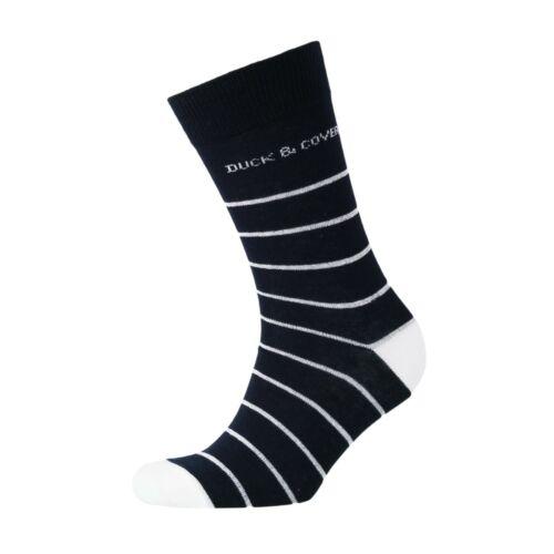 Duck /& Cover Logo rayures 3 Pack et Pack de 5 chaussettes noires Bnwt