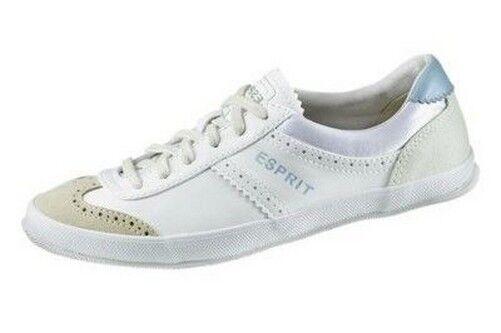 Esprit Sneaker Gr.36 NEU Weiß Leder Damen Schuhe Low Schnürer Edc UK 3,5